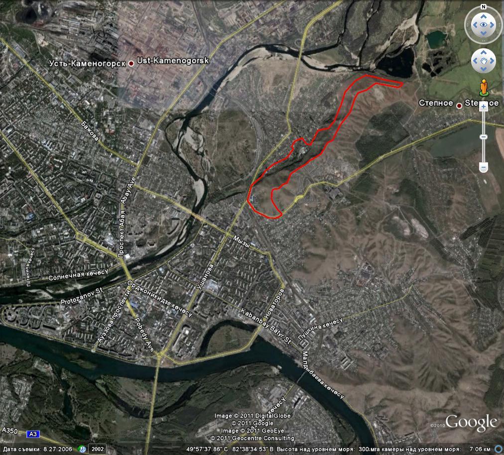 Карта путешествия на гору Атамановскую