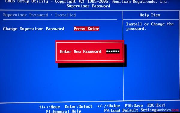 Устанавливаем пароль на BIOS