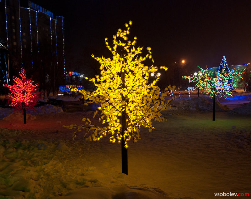 Пластмассовые деревья в ночи
