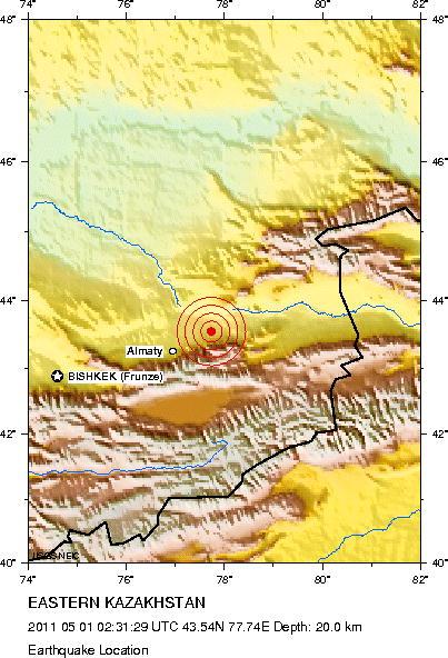 Землетрясение в Алматы 01 мая 2011 г
