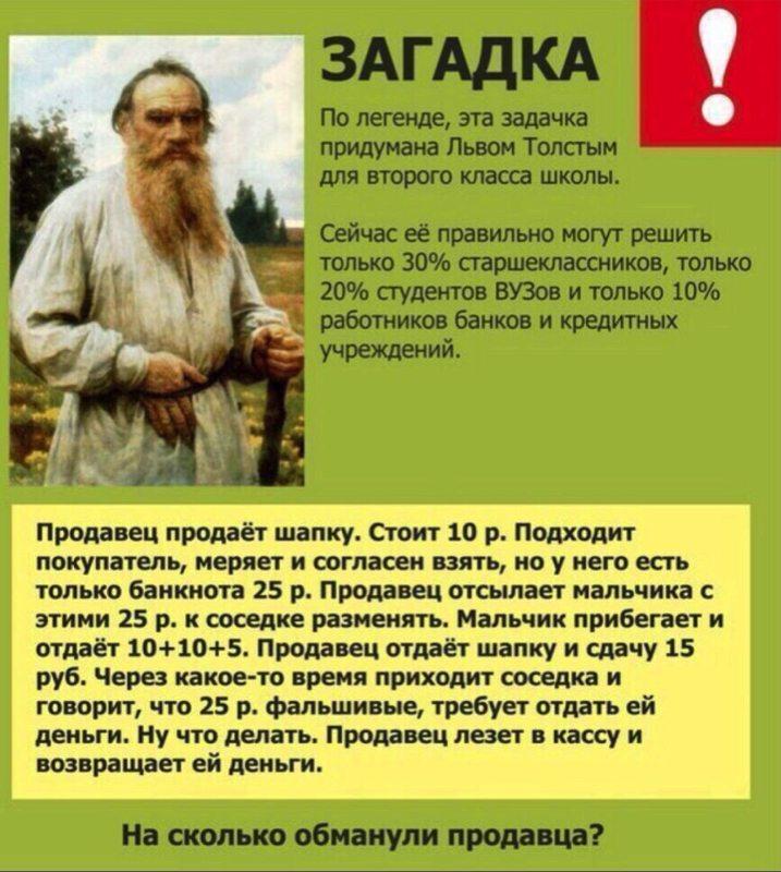Загадка про шапку и фальшивые рубли
