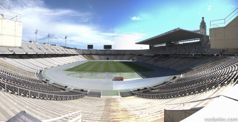 не очень удачная панорама знаменитого барселонского стадиона, где была Олимпиада